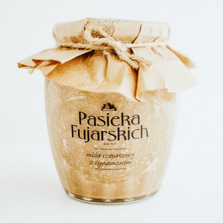 Miód rzepakowy z cynamonem 900g Pasieka Fujarskich Czaplinek